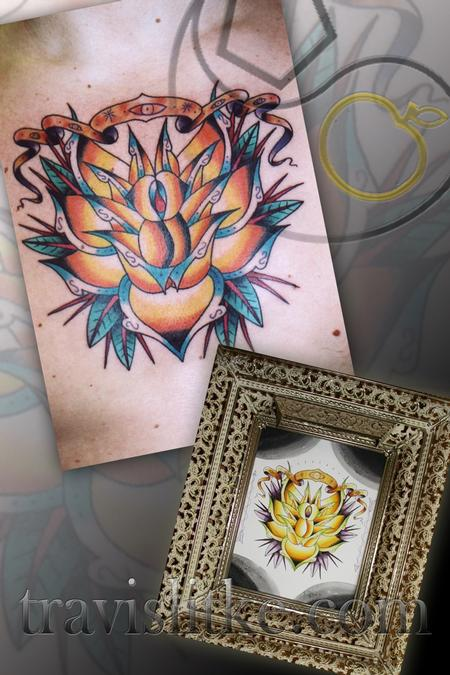 Travis Litke - Neo Trad Rose Eye Banner Chest w/ Watercolor